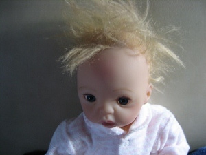 Wild hair on doll